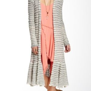 Free People Duster Cardigan Sweater Gray Striped